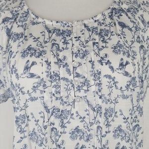 Bit & Bridle Floral Bird Sheer Top Shirt Blouse